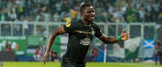 Mubarak Wakaso celebrates after scoring for Celtic against Red Bull Salzburg