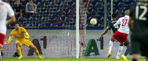 Alan scores for Red Bull Salzburg against Celtic