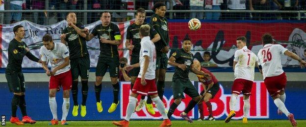Jonathan Soriano scores for Red Bull Salzburg against Celtic