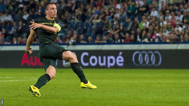 Scott Brown scores for Celtic against Red Bull Salzburg