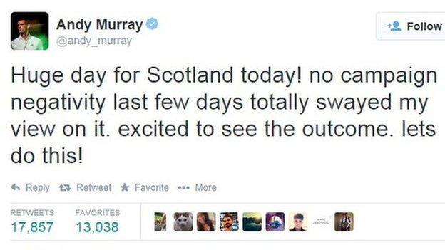 Andy Murray tweet