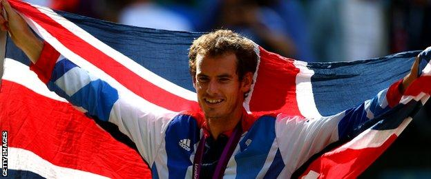 Andy Murray flies the Union Jack with his Olympic gold medal