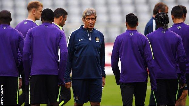 Manuel Pellegrini and his Manchester City squad
