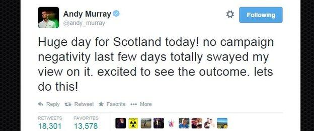 Andy Murray's eve of poll Tweet