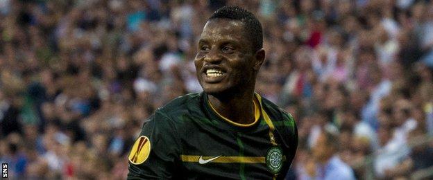 Wakaso Mubarak celebrates after opening the scoring for Celtic in Austria.