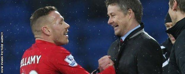 Craig Bellamy and Ole Gunnar Solskjaer at Cardiff City