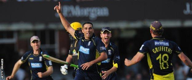 Kabir Ali's matchwinning full toss for Hampshire in the 2012 CB40 final against Warwickshire