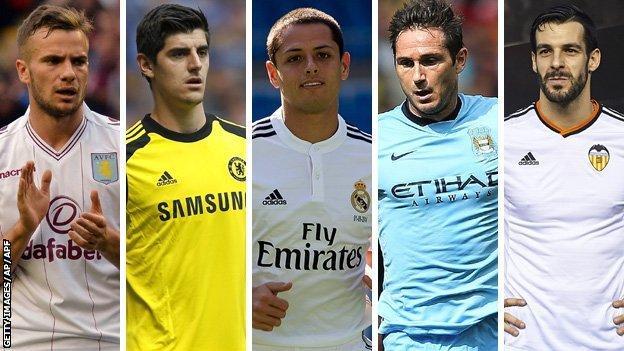 (left to right) Tom Cleverley, Thibaut Courtois, Javier Hernandez, Frank Lampard and Alvaro Negredo