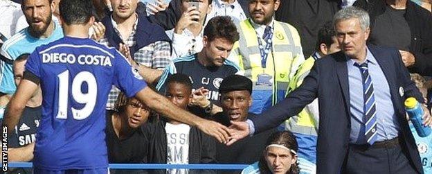 Diego Costa (left) and Jose Mourinho