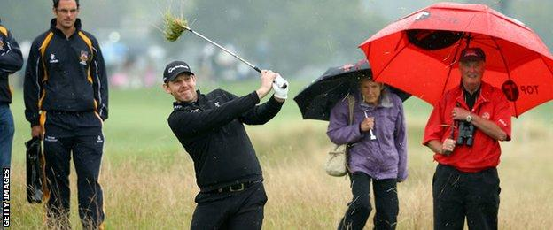 Stephen Gallacher plays from the rough at Celtic Manor