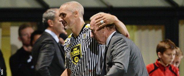St Mirren captain Jim Goodwin congratulates manager Tommy Craig