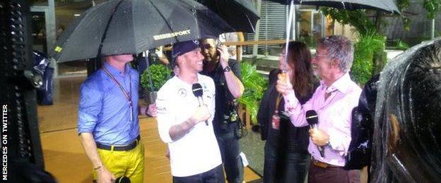 BBC Team interviewing Lewis Hamilton