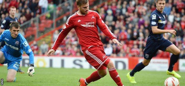 Aberdeen striker David Goodwillie hits the post after rounding County goalkeeper Mark Brown