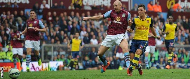Arsenal playmaker Mesut Ozil scores against Aston Villa