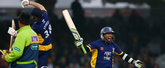 Gareth Breese of Durham celebrates winning the match after scoring the winning runs