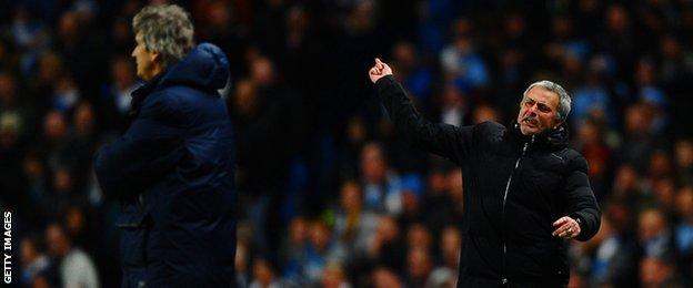 Manuel Pellegrini and Jose Mourinho during last season's game at the Etihad