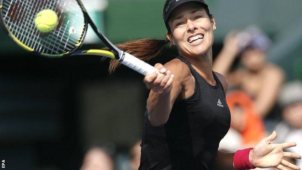 Ana Ivanovic in action against Caroline Wozniacki