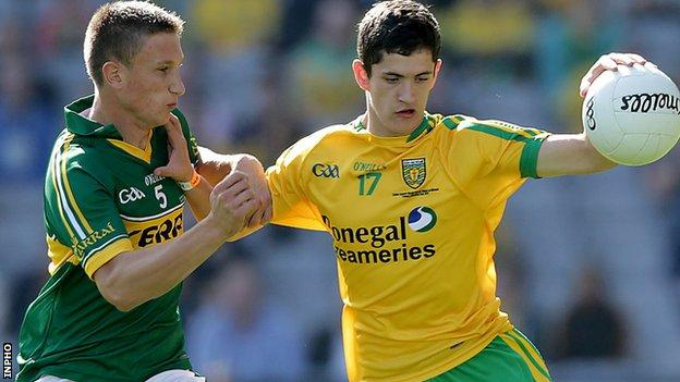 Kerry defender Brian Sugrue tackles Donegal's Ethan O'Donnell in the minor final