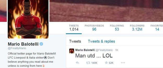 Mario Balotelli's Twitter account