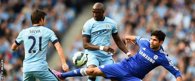 Defender Eliaquim Mangala, centre, made his first Premier League start for Manchester City since joining in the summer