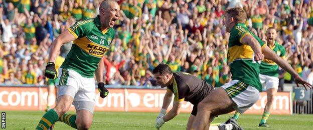 Kieran Donaghy scored Kerry's second goal after a mistake by Donegal keeper Paul Durcan