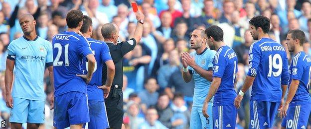 Pablo Zabaleta was sent off for Manchester City