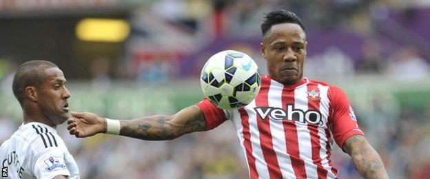 Southampton defender Nathaniel Clyne in action against Swansea