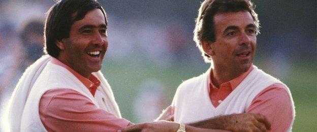 Seve Ballesteros of the European team celebrates with captain Tony Jacklin during the Ryder Cup