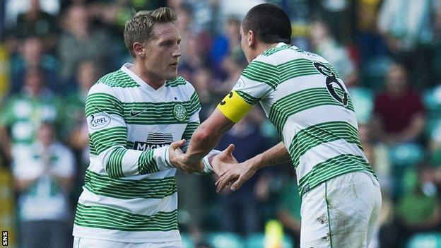 Kris Commons congratulated by Scott Brown