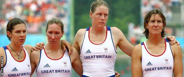 Great Britain's Annie Vernon, Debbie Flood, Frances Houghton and Katherine Grainger at the 2008 Beijing Olympics