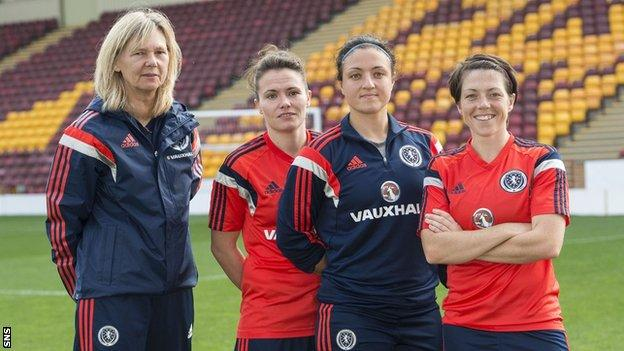 Scotland coach Anna Signeul with Joanne Love, Gemma Fay and Megan Sneddon