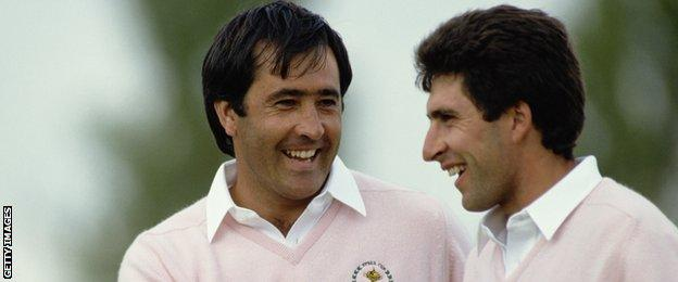 Spanish golfers Severiano Ballesteros (left) and Jose Maria Olazabal shaking hands during a Ryder Cup match at The Belfry, Warwickshire, in September, 1988