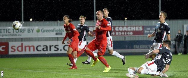 Falkirk's Owain Tudur Jones scores an own goal in the match with Rangers