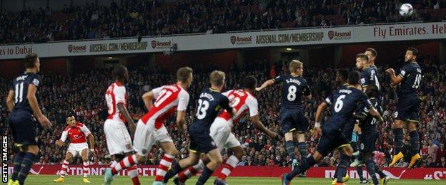Alexis Sanchez scores Arsenal's opening goal