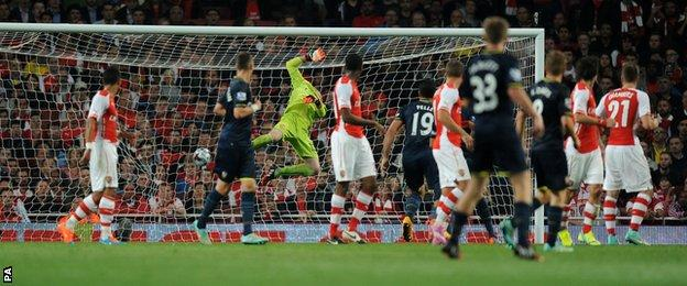 Nathaniel Clyne's shot hits the back of the Arsenal net