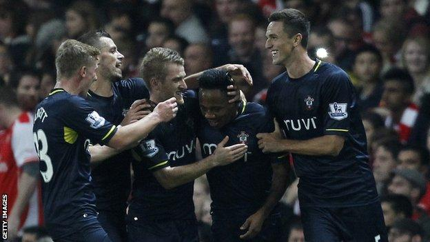 Nathaniel Clyne (second from left) is congratulated by Southampton team-mates after scoring