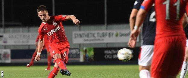 Ian Black scores for Rangers against Falkirk