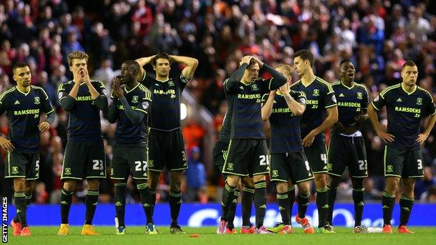Middlesbrough team despair as they lose the shoot-out