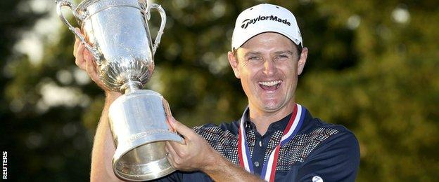 Justin Rose poses with the 2013 US Open trophy