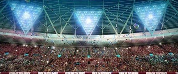 A computer-generated image of how the Olympic Stadium East Stand 'Kop' would look on match day