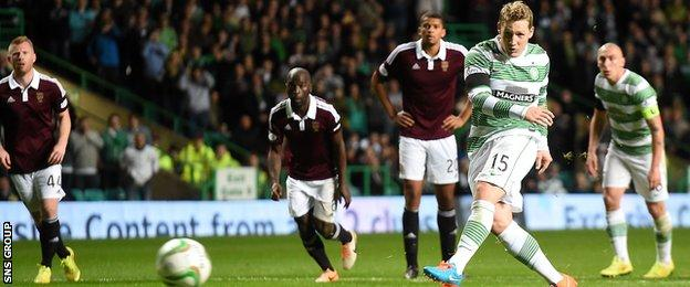 Kris Commons cracked in a penalty for Celtic