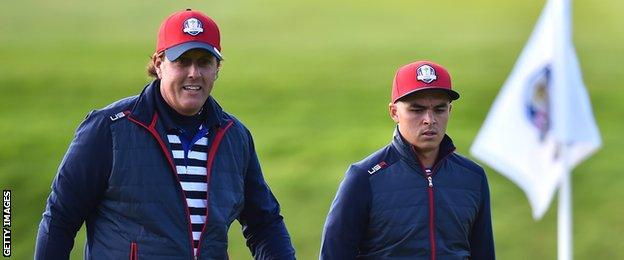 Phil Mickelson with team-mate Rickie Fowler (right)
