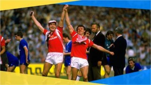 Manchester United's Norman Whiteside celebrates winning the 1985 FA Cup