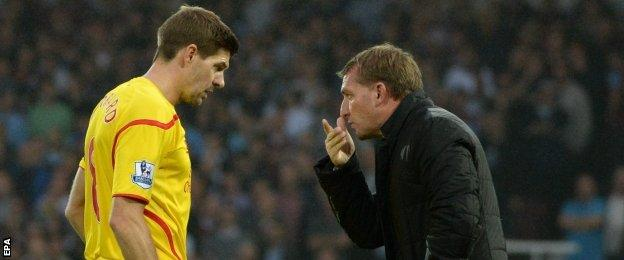 Liverpool captain Steven Gerrard and manager Brendan Rodgers
