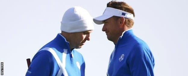 Ian Poulter and Stephen Gallacher at the Ryder Cup