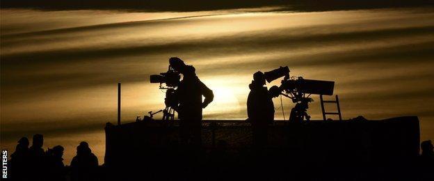 Television camera crew gather in Gleneagles