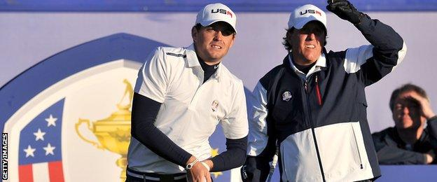 Phil Mickelson (right) and Keegan Bradley