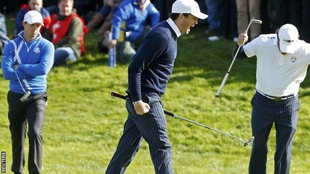 Keegan Bradley and Phil Mickelson celebrate at the Ryder Cup