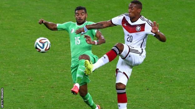 El Arabi Hilal Soudani in action against Germany's Jerome Boateng at the 2014 World Cup
