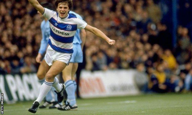 Gary Bannister scores for QPR during the early eighties when the west London club used an artificial surface